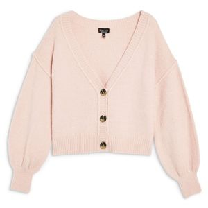 Topshop Horn Button Crop Cardigan in Pink